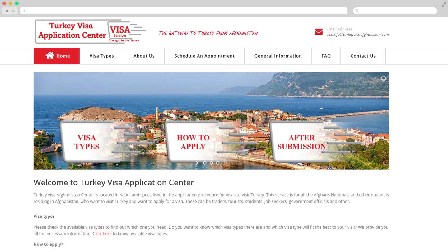 Webapplicatie Turkey Visa Afghanistan